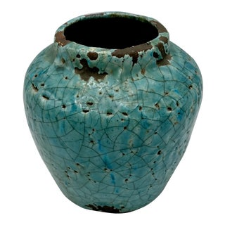 Hand Thrown Raku Pottery With Turquoise Crackle Lava Glaze