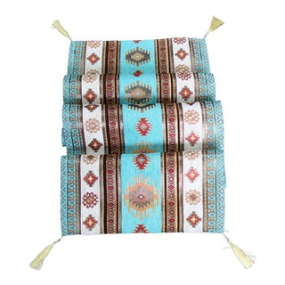 Turkish Red, Gold & Turquoise Kilim Table Runner or Bed Throw