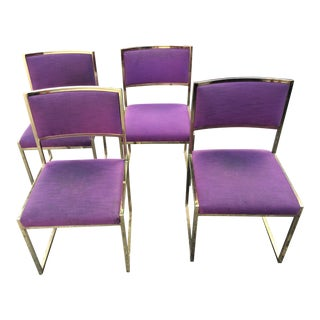 Milo Baughman Style Brass Plated Curved Chairs - Set of 4