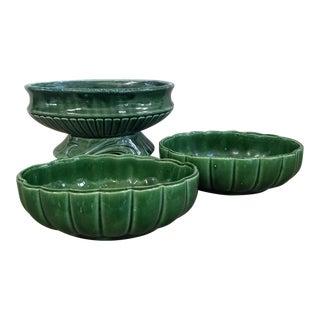 Mid Century Pottery Planters, 3 Piece