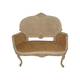 French 19th C. Hand Carved & Caned Settee