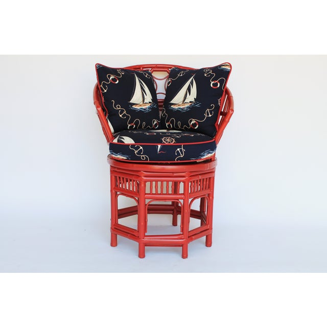 Bamboo Accent Chair W/ Nautical Theme - Image 2 of 9