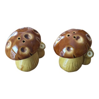 Vintage Glazed Mushroom Salt & Pepper Shakers- Set of 2