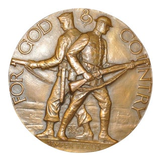 "For God & Country ""Semper Fidelis"" Bronze Medallion c.1920s"