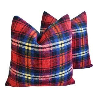 Custom Tailored Scottish Tartan Plaid Wool Feather/Down Pillows - Pair