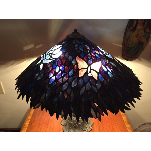 Artist Signed Butterfly Lotus Stained Glass Lamp - Image 6 of 11