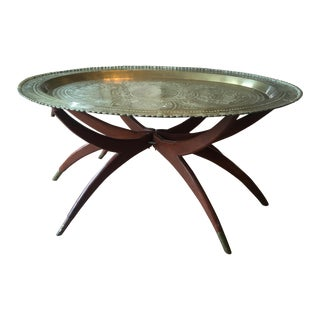Oval Mid-Century Modern Brass Moroccan-Style Table