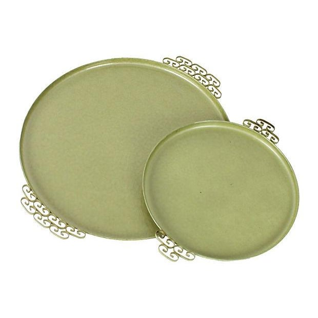 Green Kyes Pasadena Round Trays - Pair - Image 1 of 5