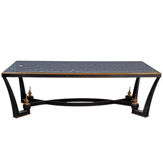 1960's Mexican Modern Iron Dining Table with a Green Marble Top by Arturo Pani