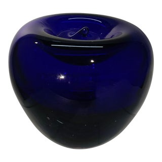 Vintage Blenko Apple. Cobalt Blown Glass Apple