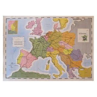 Original French Map of European Railroads, 1949