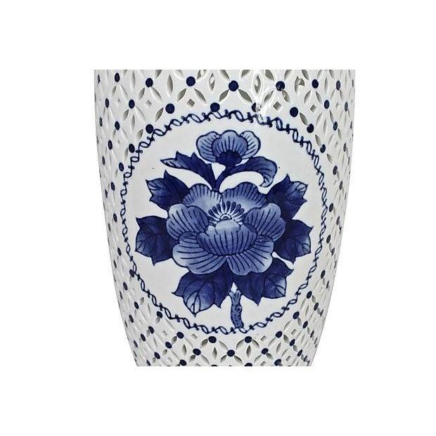 Blue & White Pierced Chinois Vase - Image 3 of 6