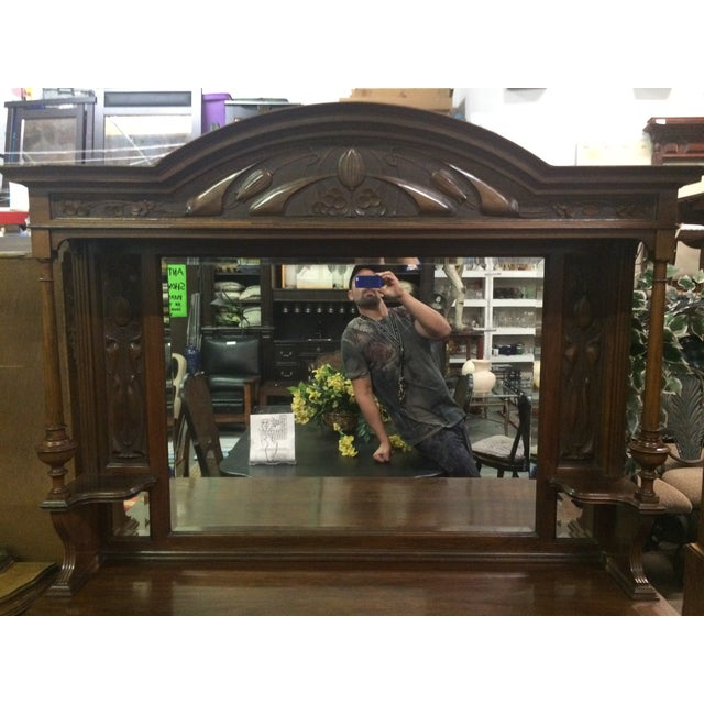 Antique Hand-Carved Buffet & Mirror - Image 3 of 10