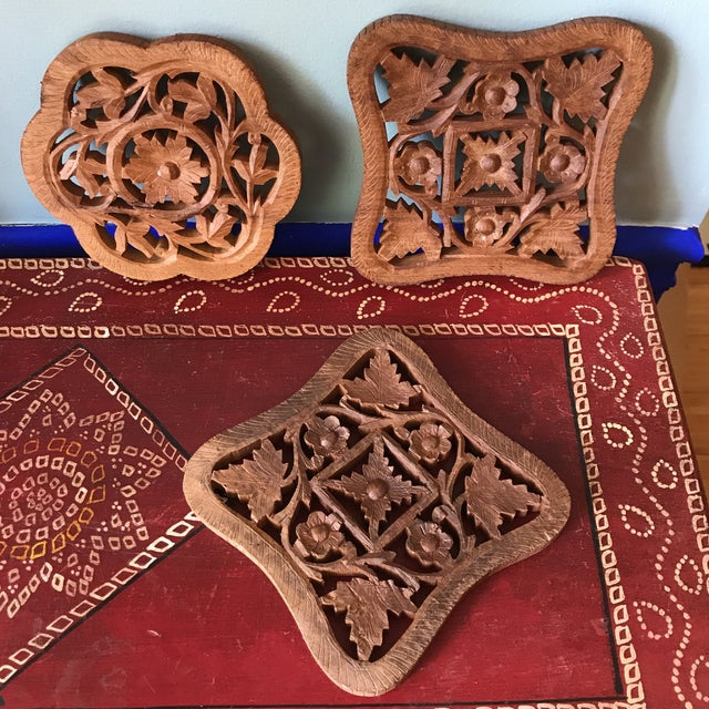 Hand-Carved Trivets - Set of 3 - Image 7 of 10