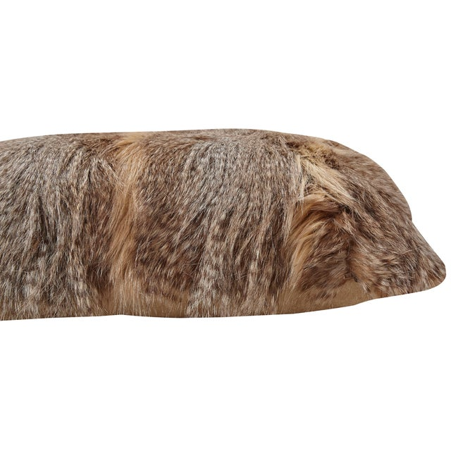 Brown Faux Fur Pillows - A Pair - Image 2 of 3