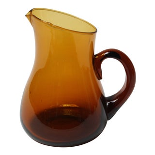 Petite Dark Amber Blown Glass Pitcher by Blenko