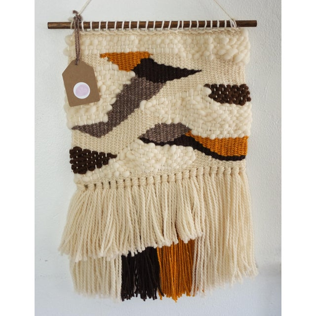 Image of Cream, Tan, Brown & Mustard Woven Wall Hanging