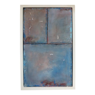 2017 Original Sky Blue & Crimson Oil & Pastel Tableau Painting