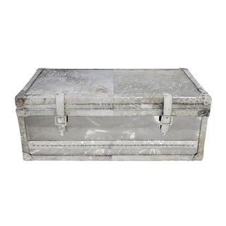 Forest Collection Steel and Cowhide Silver Trunk