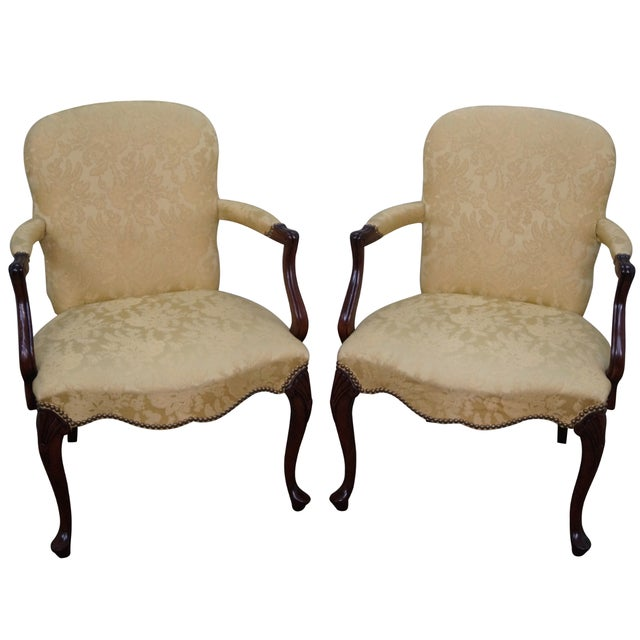 Hickory Co. Mahogany Queen Anne Armchairs - Pair - Image 1 of 10