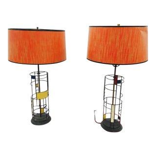 Metal Mid-Century Modern Lamps & Shades - Pair