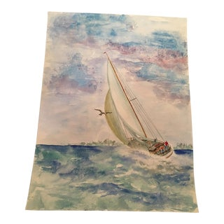 Original Sailboat Watercolor Painting