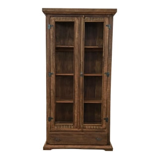Reclaimed Wood & Glass Vitrine Display Cabinet