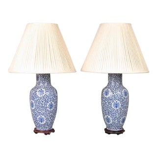 Pair of Dorothy Draper Chinese Porcelain Lamps