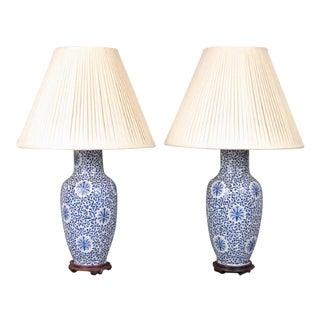 Pair of Dorothy Draper Chinese Porcelain Lamps