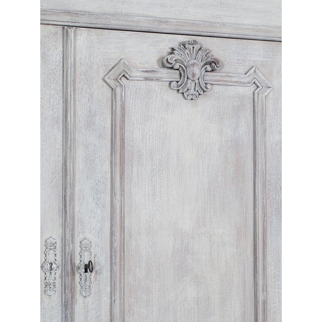 Antique French Painted Oak Louis Philippe Buffet a Deux Corps Cabinet circa 1850 - Image 5 of 11