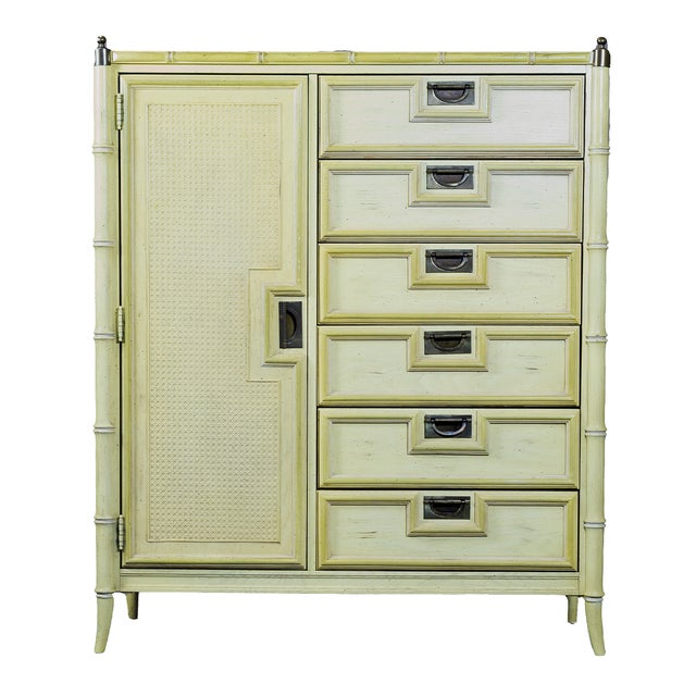 Stanley Yellow Faux Bamboo Campaign Dresser - Image 1 of 4