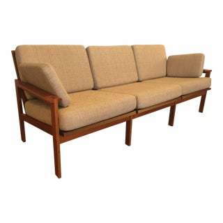 Vintage Illum Wikkelso Capella Teak Framed Sofa