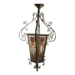 Antique Stained Glass Pendant Lamp