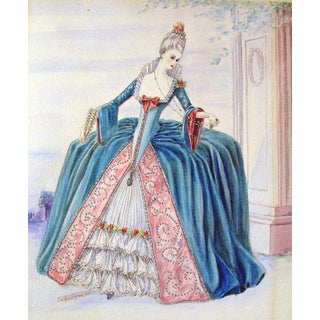 1940s Period Fantasy Costume Watercolor Painting