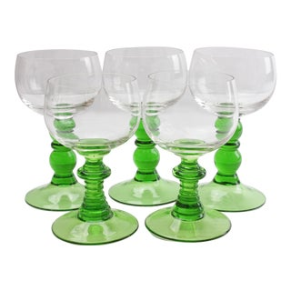 German Green Stem Goblets - Set of 5