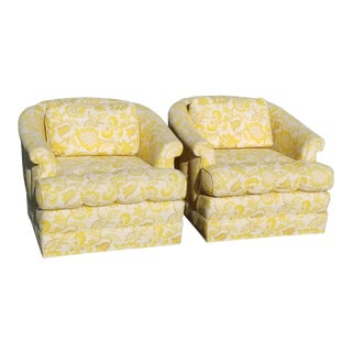 Vintage Mid-Century Modern Yellow & White Floral Accent Chairs - A Pair