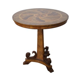 Baker Round Inlaid Regency Pedestal Table