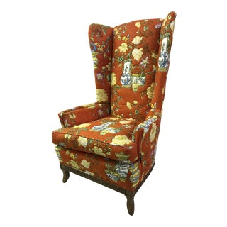 Vintage Chinoiserie Orange Wingback Chair