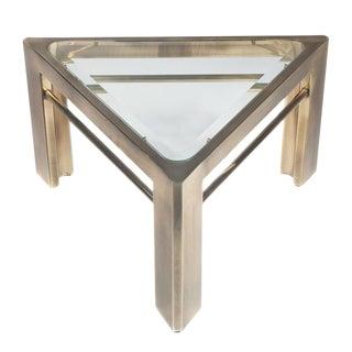 1970S MASTERCRAFT TRIANGULAR SIDE TABLE IN BRASS