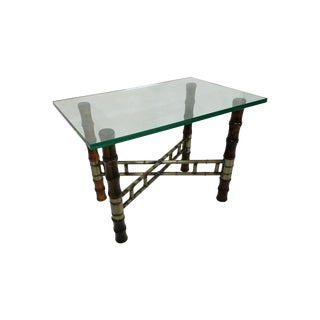 Hollywood Regency Faux Bamboo Glass & Metal Table