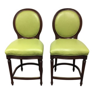 Pearson Scarlette Leather Oval Back Counter Stools- A Pair