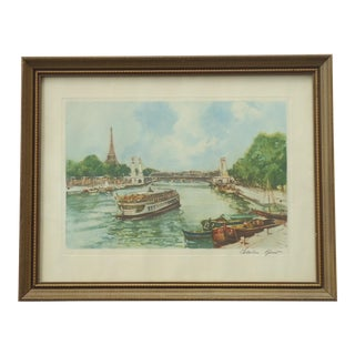 Vintage Charles Blondin Boat on the Seine Print