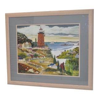 H. Franeck Wysocki Summer Coastal Landscape Gouache on Paper