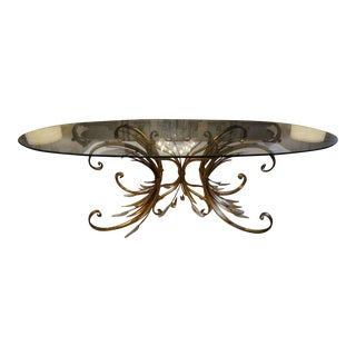 Mid-Century Coco Chanel Style Gilt Metal Coffee Table