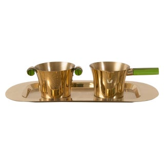 Vintage Emerald Glo Copper Over Silver Serving Set