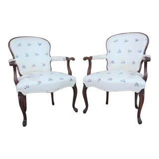 Mahogany Queen Anne Style Open Arm Chairs - A Pair