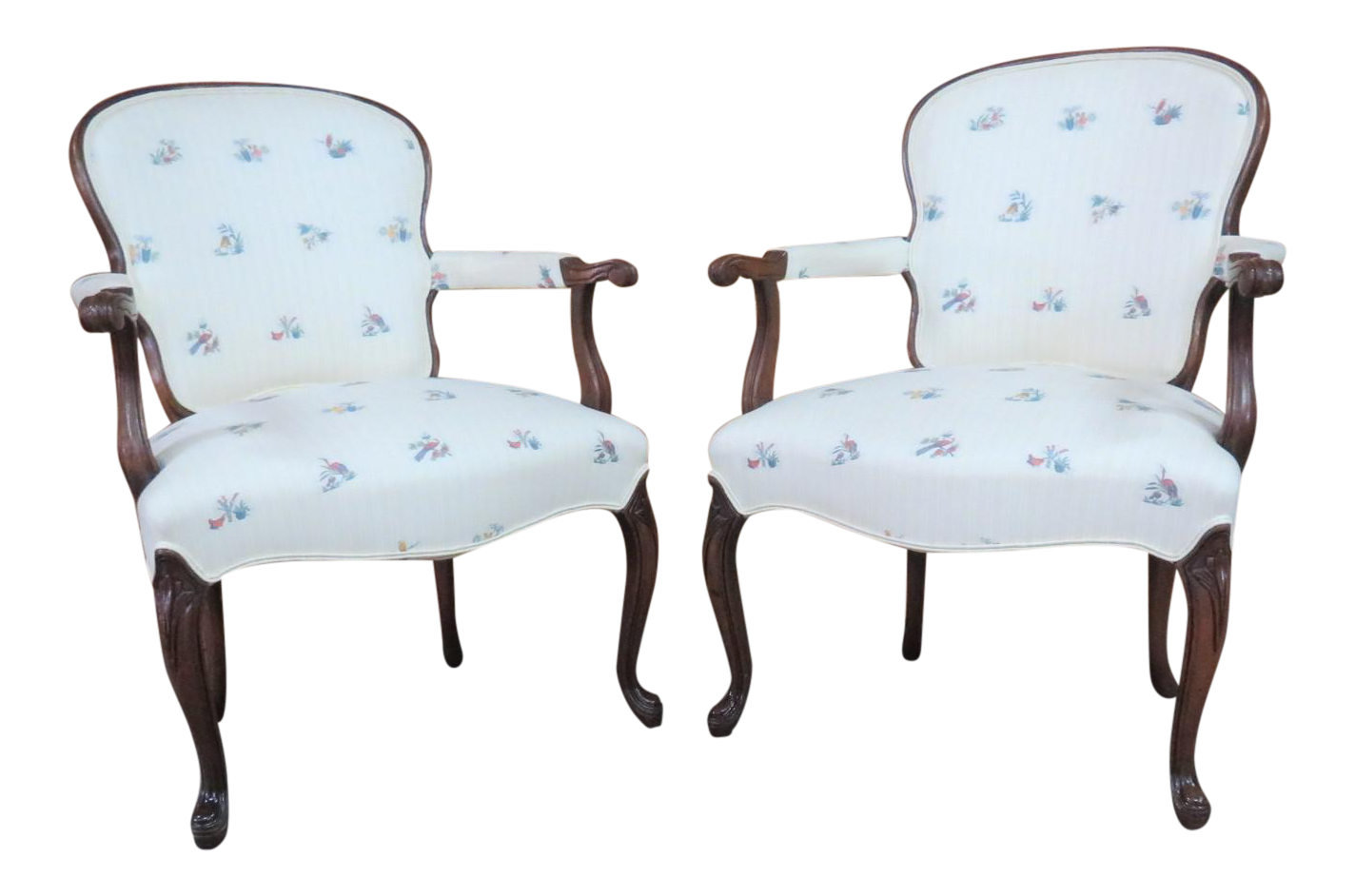mahogany queen anne style open arm chairs a pair