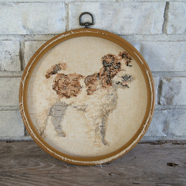 Vintage Needlepoint Fox Terrier - Image 3 of 5