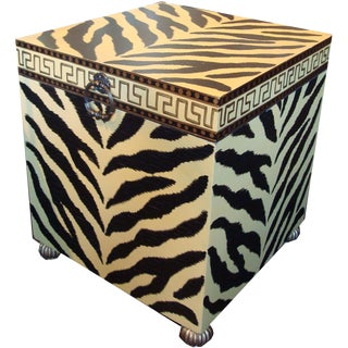 Glam Animal Print End Table Trunk