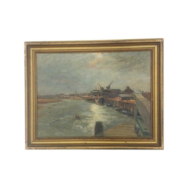 Industrial Mid-Century Dock Scene - Image 1 of 3